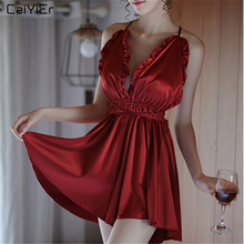 Caiyier Ladies Sexy Deep V-Neck Nightgown Silk Satin Sleepwear Red Sling Lingerie Backless With G-string Sleepshirts YX1928