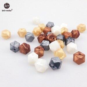 Image 3 - Laten we Siliconen Bijtring Metallic Koper Parel Witte Geometrische/Hexagon Siliconen 50 st DIY Tandjes Ketting Kralen Voor bijtring