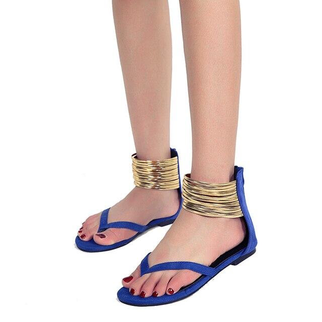 52b2af99c9e Woman Sandals Black Shoes Summer Big Size Metal Decor Flip Flops Flat Block  Heels Cover Gladiator Peep Toe Ankle Wrap Comfort