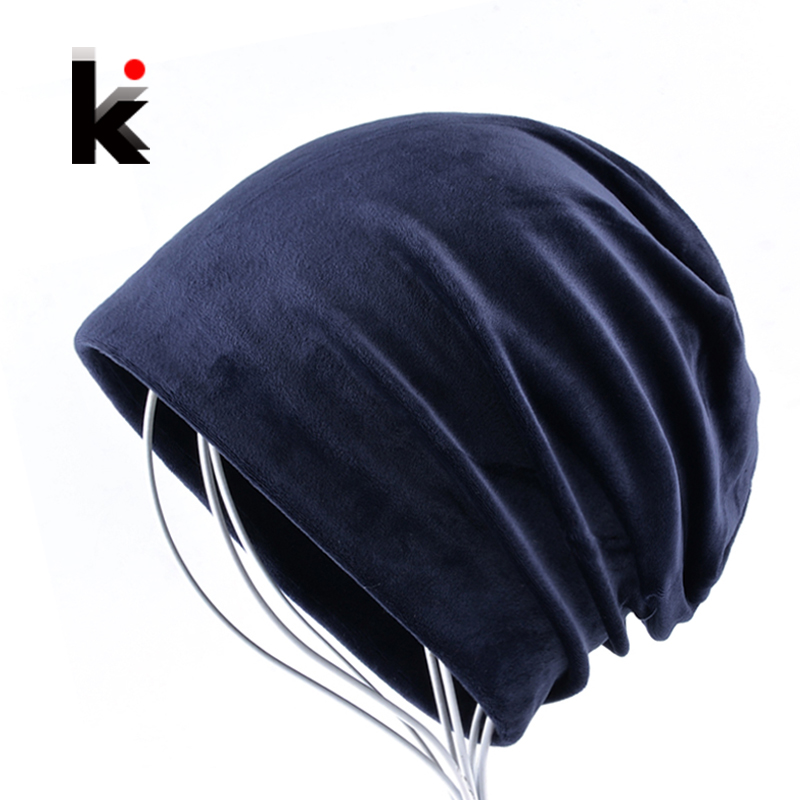 2017 Women's Beanies Hat Autumn And Winter Warm Velvet Bonnets For Men Soft Casual Solid Caps Women Unisex Skullies Beanie Muts 2017 men women hats winter beanie velvet beanies soft snapback caps bonnets en laine homme gorros de lana mujer soft solid color