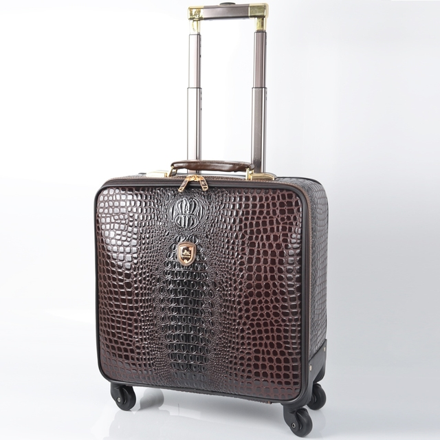 Unisex PU Leather Crocodile Pattern Spinner Carry-on Luggage High Quality Pull-on Luggage Cases Black Coffee Brown 16/18/20/24