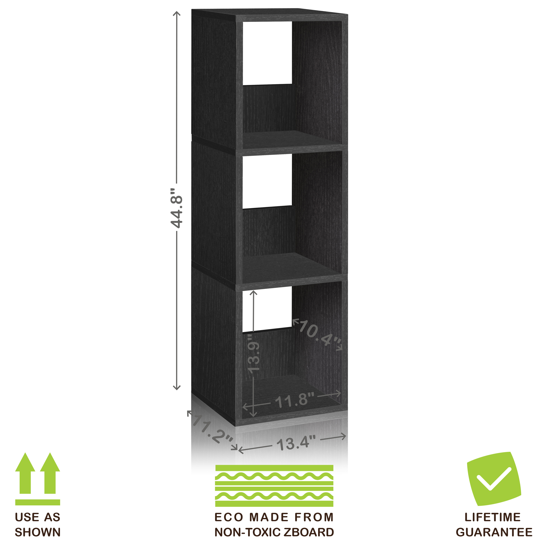 Eco 3 Shelf Trio Narrow Bookcase and Storage Shelf, Black Wood Grain - Tool-Free Assembly - Non Toxic - LIFETIME WARRANTY paradigm cinema trio gloss black