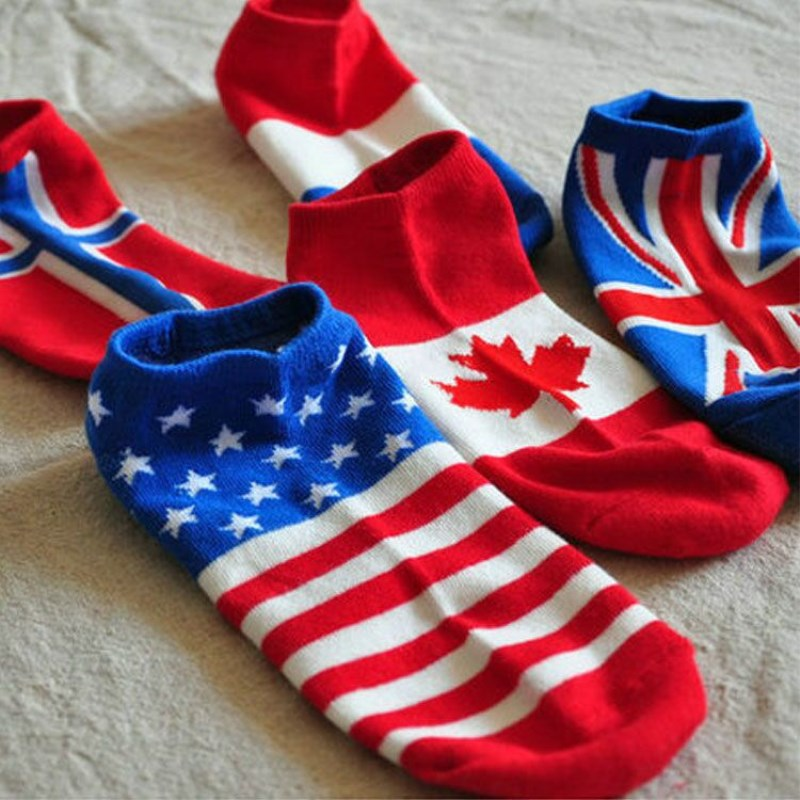 2018 Summer Cotton Socks Men Women Casual Stripe Patchwork Ankle Sock World Cup National Flag Printing Funny Happy Boat Socks