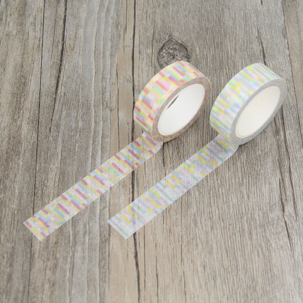 ᗔsoft color neon line stripe new style washi paper masking tapes