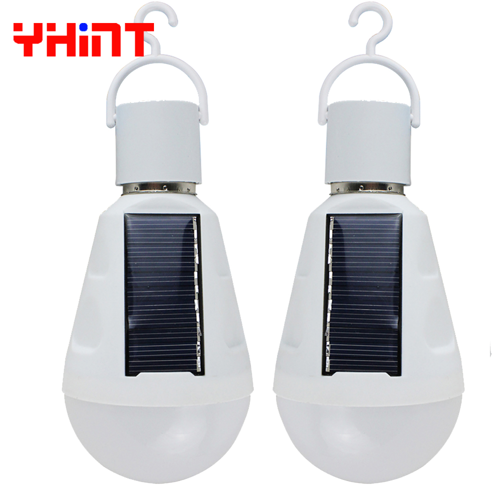 2pcs 7W Hot Sale 2017 New Solar energy emergency lamp bulb lighting Solar charging Working during power failure outdoor light cheaper hot sell solar energy small lighting system emergency lighting for camping boat yacht free shipping