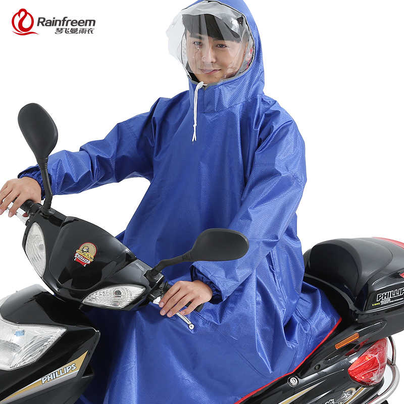 Rainfreem Men/Women Impermeable Electromobile/Bicycle Rain Poncho Thick Raincoat Double Transparent Hood Rain Gear Rain Coat
