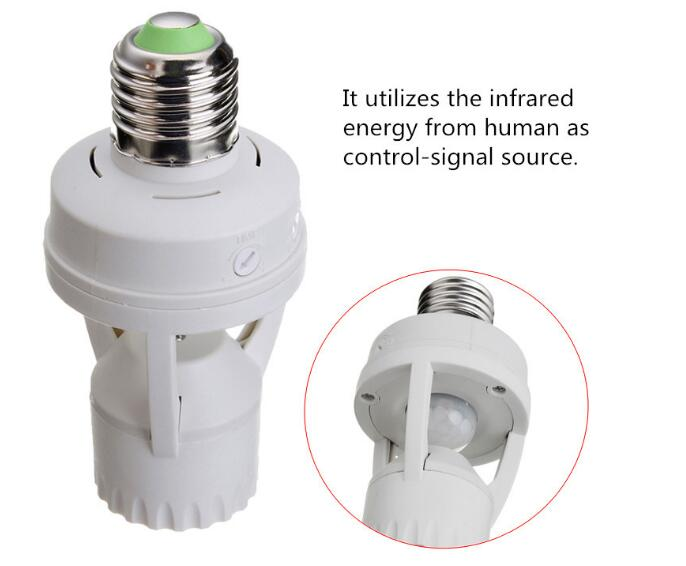 цена на Light Control Timer Switch 110V 220V E27 Base Lamp Holder IR Infrared Human Induction Motion Sensor
