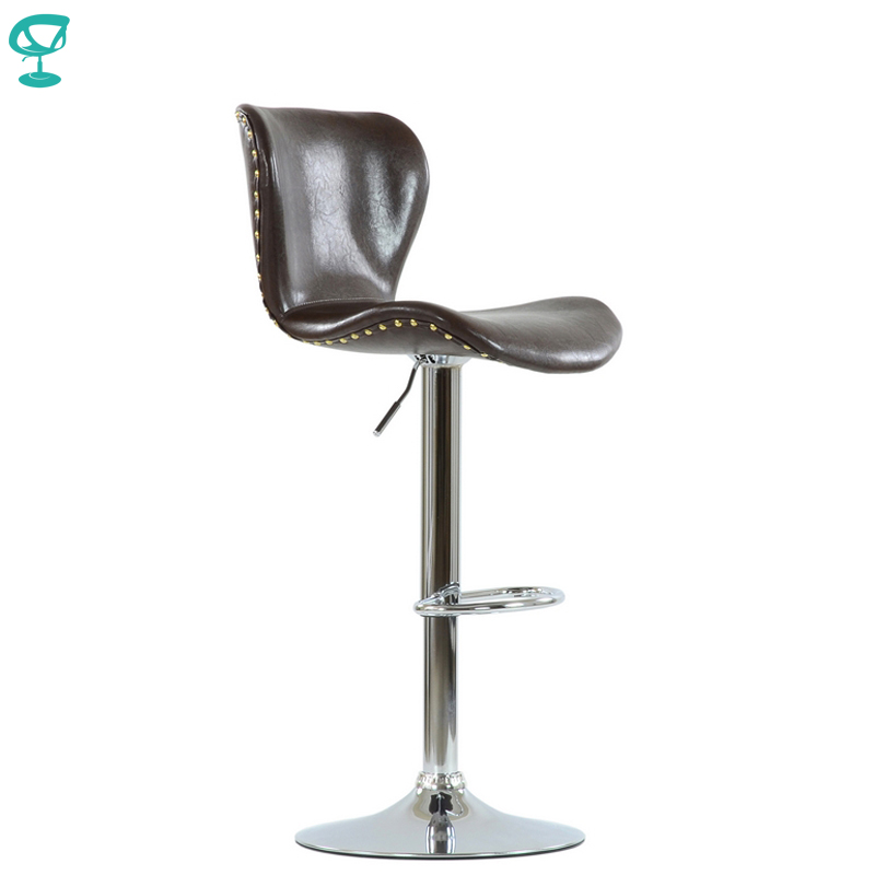 95608 Barneo N-87 SPU Leather Kitchen Breakfast Bar Stool Swivel Bar Chair Shiny Brown Color Chrome Leg Free Shipping In Russia