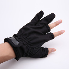 1 Pair 3 Low-Cut Fingers Fishing Gloves Tackle Finger Protector for Fishing Tackle Box Outdoor Gloves Black Blue Red