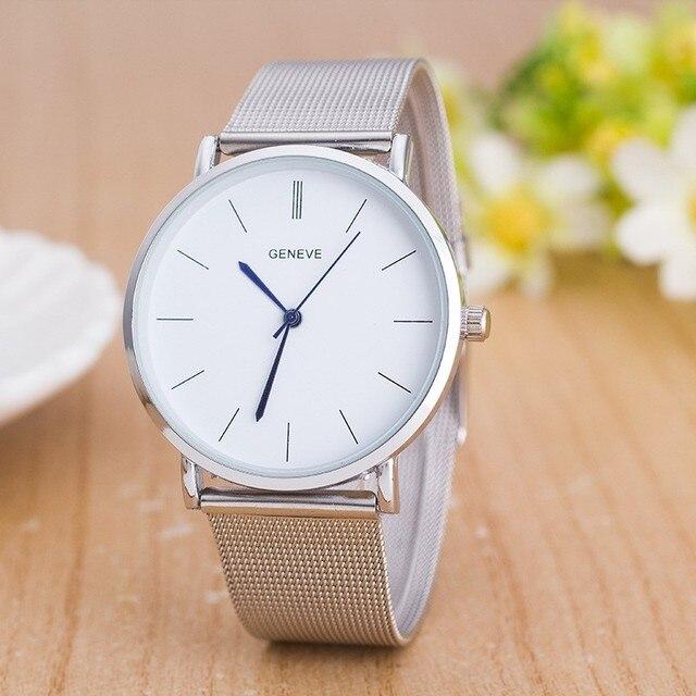 a04b21d01ec Genebra Assistir Moda de luxo Da Marca Relógio de Prata de Aço Inoxidável  Homens de Quartzo