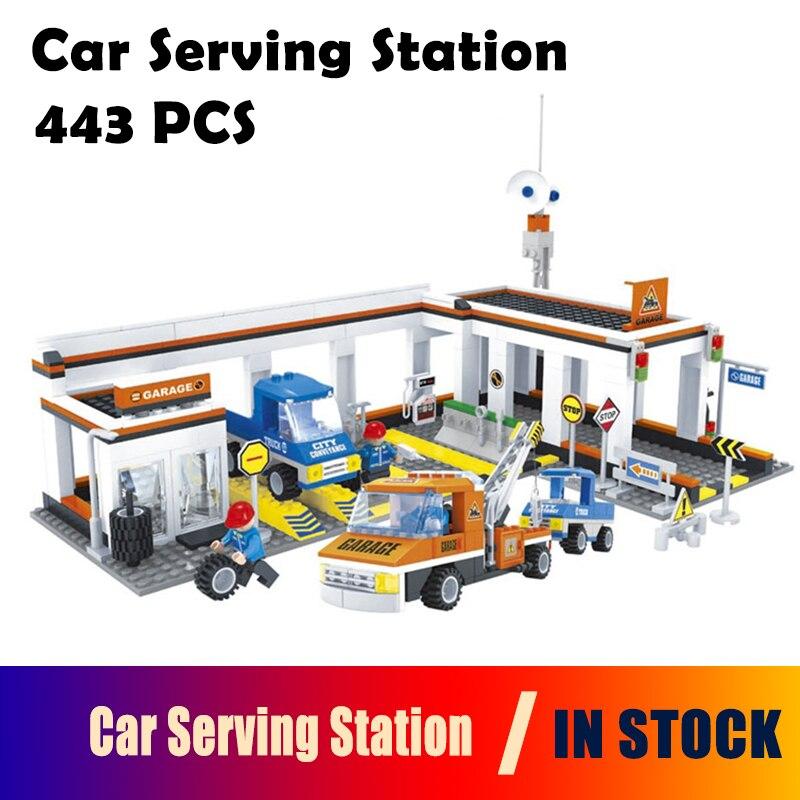 Modèle de construction jouets loisirs voiture Station de service 25701 Compatible avec blocs ville briques à monter soi-même éducatif