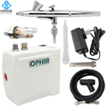 OPHIR Dual Action Airbrush Kit with Mini Air Compressor 0.3 Air-brush for Body Paint Nail Art Makeup Model Hobby_AC003W+004A+011