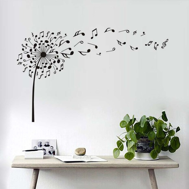 Creative Dandelion Music Notes Wall Decals Decor High Quality ...