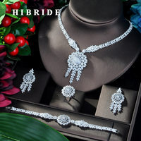 HIBRIDE Beauty Flower Nigeria CZ Crystal Wedding Bridal Jewelry Sets For Wedding Accessories Jewelry Necklace Bangle Sets N 797