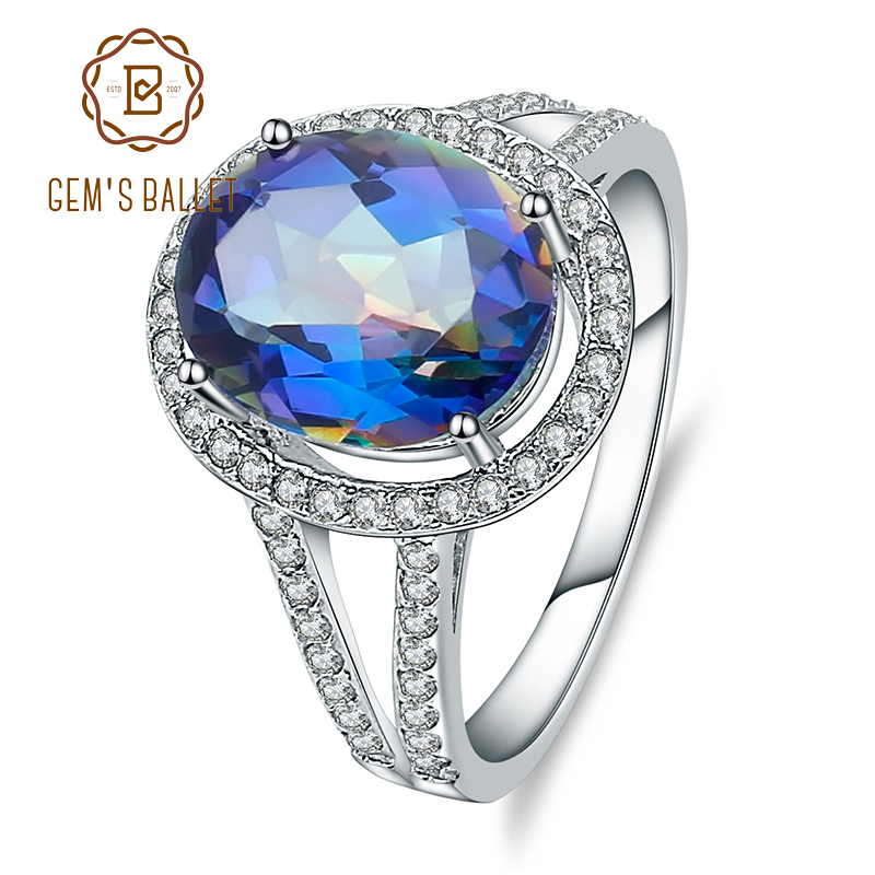 GEM'S BALLET 925 Sterling Silver Natural Blueish Mystic Quartz Gemstone Rings Classic Engagement Fine Jewelry for Women