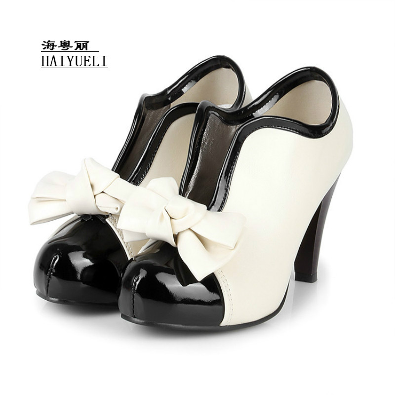 Hot Sale Women High Heel Shoes Quality Lady Bowknot Sexy Fashion Platform Heeled Footwear Heels Shoes Size 34-43 купить