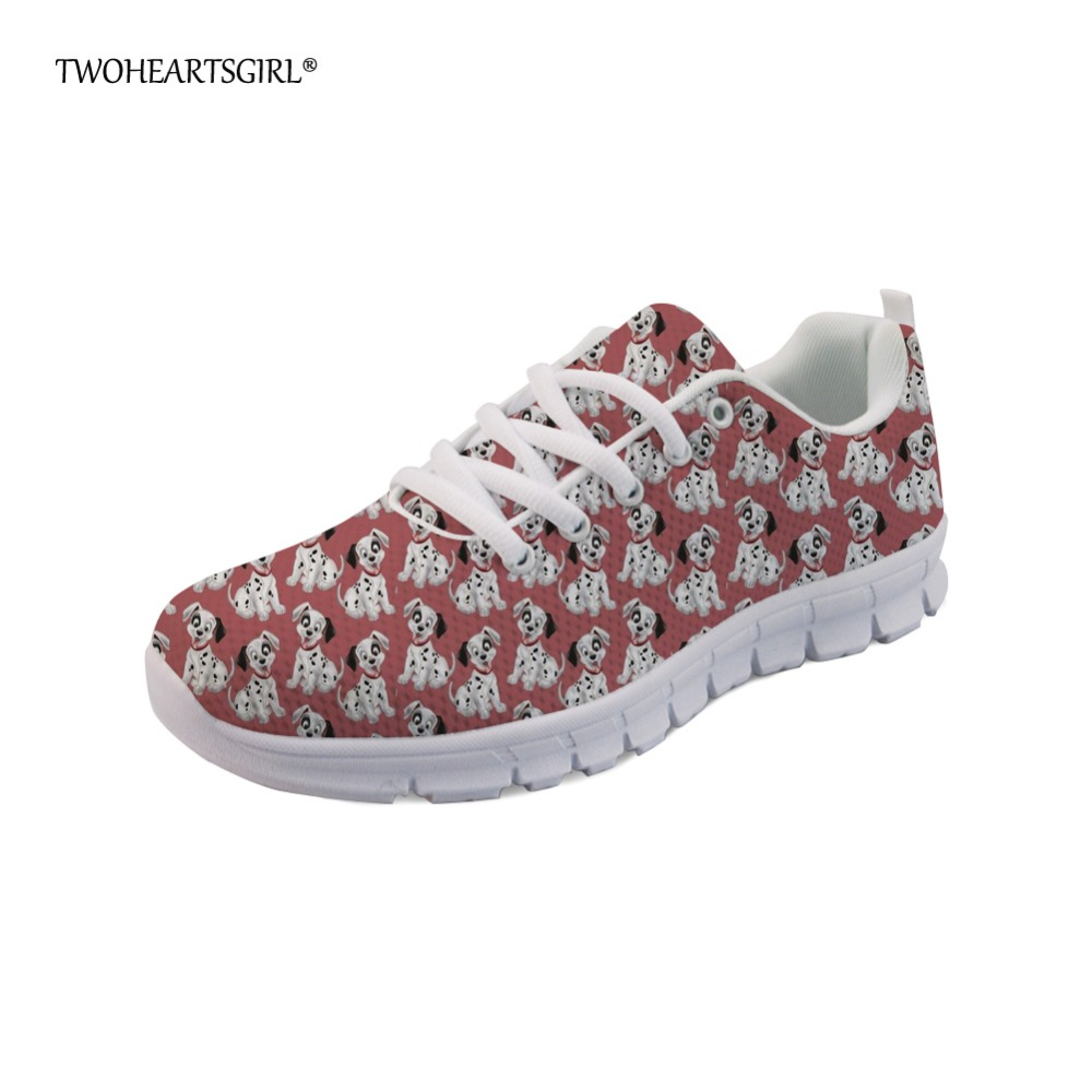 Twoheartsgirl Hipster Cute Dog Women Lace Up Flats Casual Breathable Ladies Printing Dalmatian Sneakers Comfort Mesh Flat Shoes forudesigns cute animal dog cat printing air mesh flat shoes for women ladies summer casual light denim shoes female girls flats