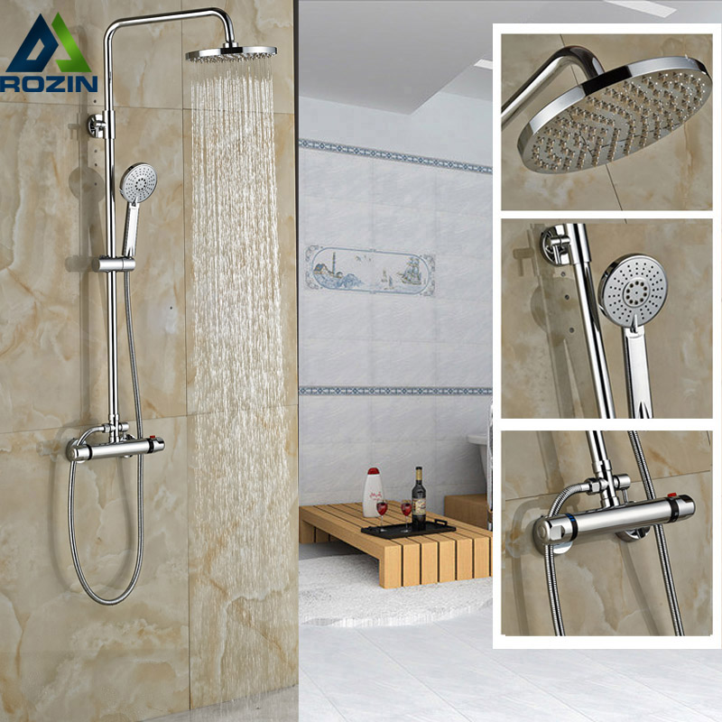 Chrome 8 Rainfall Bathroom Faucet and Shower Wall Mount Two Handle Thermostat Shower Mixers + Hand Shower wall mount thermostatic shower faucet mixers chrome dual handle bathroom hand held bath shower taps