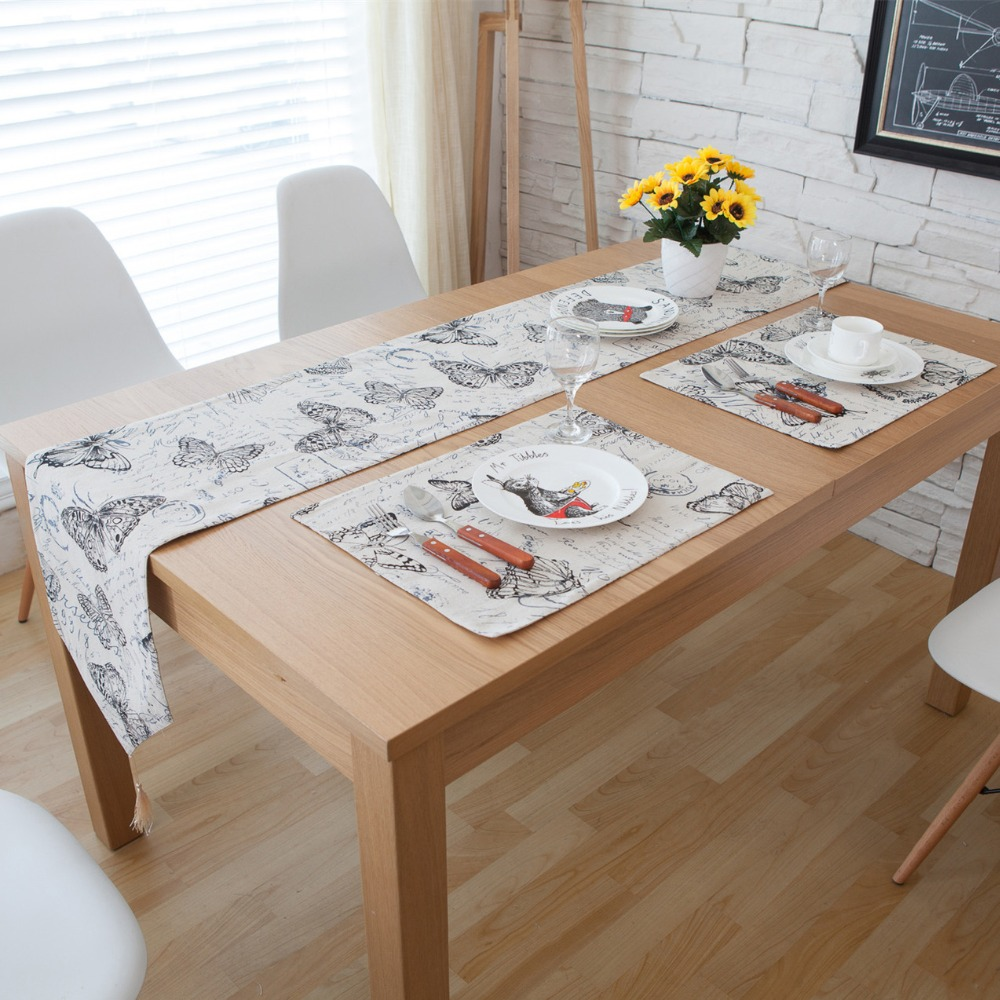 3 5 7 Pieces Linen Cotton Butterfly Printed Table Runner