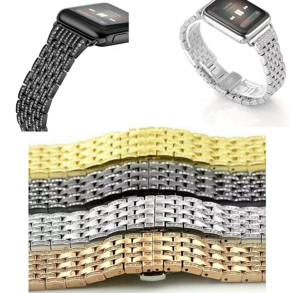For apple watch series 1/2 strap/band38/42mm stainless steel link bracelet with Luxury Glitter zirconia rhinestone-studded blink gold case блузка