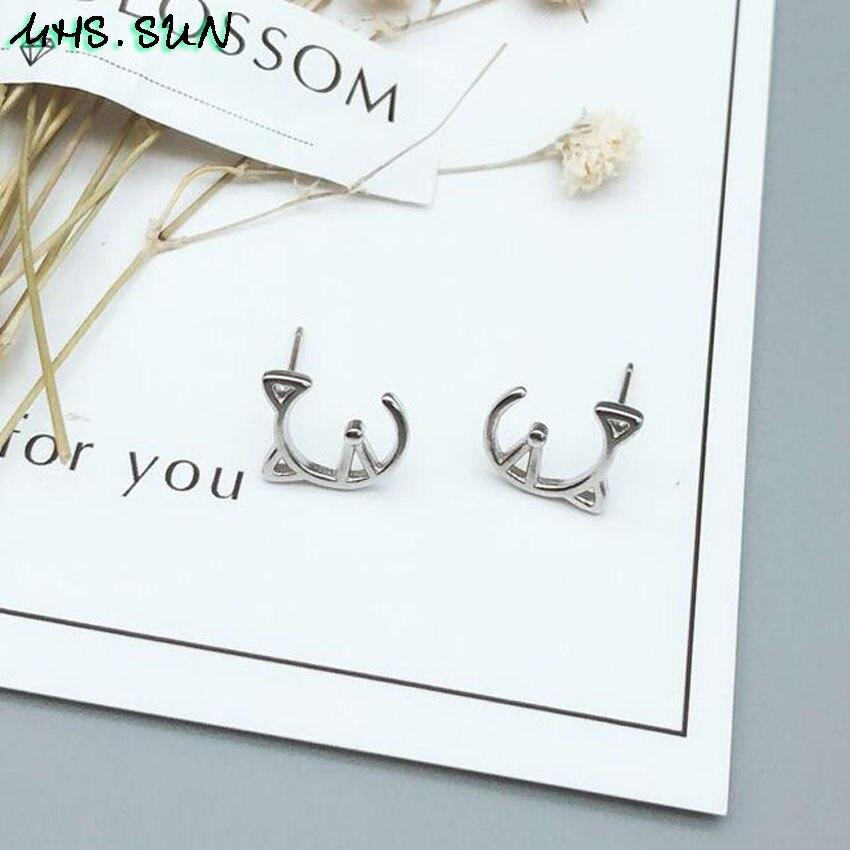 9,HN009,$1.85,10x9mm, Women 925 sterling silver earrings cute hollow cat design S925 silver stud earrings for girls gift party jewelry  (4)