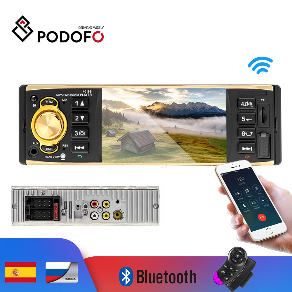 Podofo 4'' TFT Screen 1 Din Car Radio Audio Stereo MP3 Car Audio Player Bluetooth With Rearview Camera Remote Control USB FM image