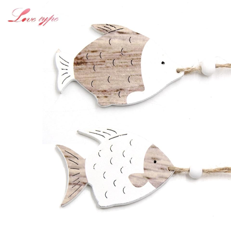 4PCS/Lot Rustic Vintage Wood Craft Wooden Fish DIY Wooden Pendants Ornaments For Home Decor Kids Toys Wedding Party Decorations