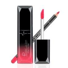 Sexy Paars Rood Vloeibare Lipstick Set Lipgloss Lipliner Potloden Veel font b Cosmetica b font Pigmenten