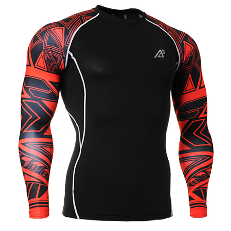 Compression Tights Men font b Fitness b font Running Shirt Breathable Long Sleeve Sport Rashgard Gym
