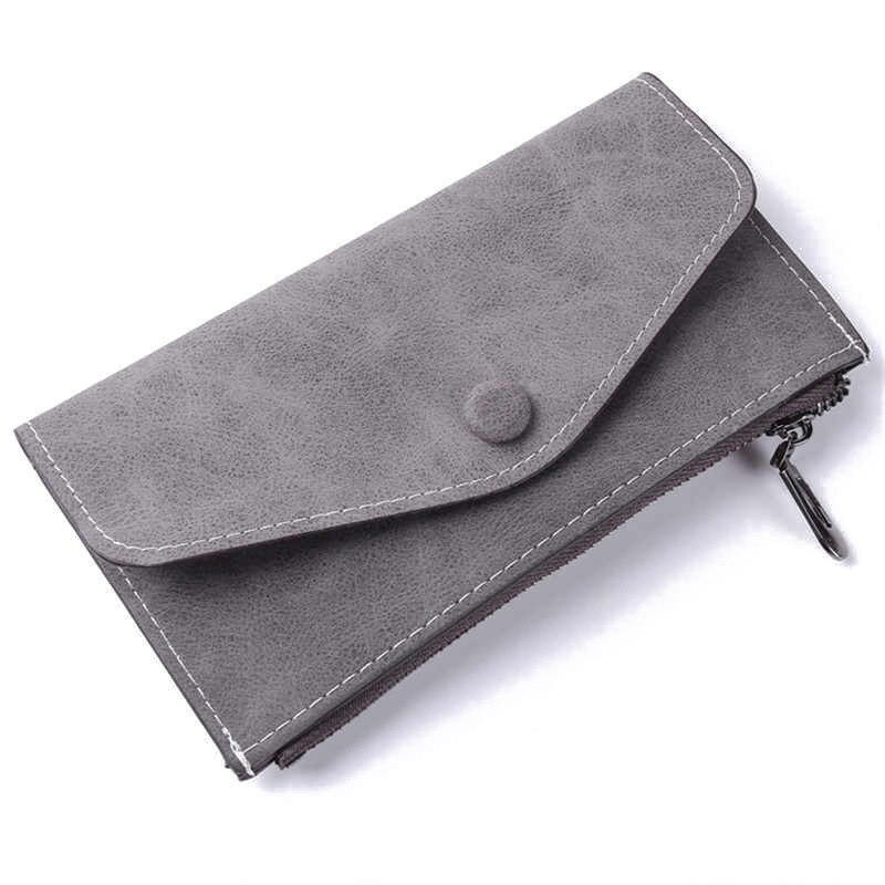 Scrub Matte Long Wallet Women Luxury Brand With 6 Card Holders Womens Wallets And Purses Leather Clutches Solid Zipper