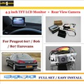 "Auto Back UP Reverse Camera + 4.3"" Color LCD Monitor = 2 in 1 Rearview Parking System - For Peugeot 607 / 806 / 807 Eurovans"