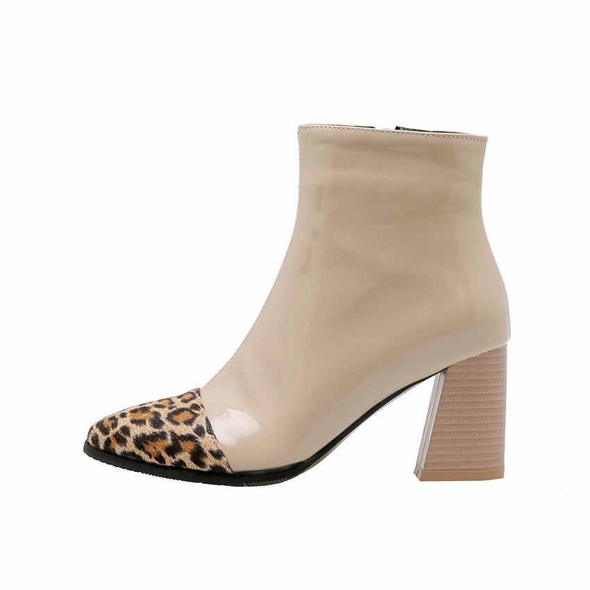 cuir carré 2020 couleur mixte hiver à 34 43 léopard QUTAA verni chaussures mode troupeau talons hauts femmes taille décontracté bottines rdQxshtC