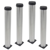 4pcs 450mm Height Furniture Legs Adjustable 15mm Silver Tone Stainless Steel Table Bed Sofa Leveling Feet