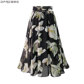 New Plus Size Women Chiffon Skirt Europe Fashion Bow Saia Midi Lining Jupe Femme Lace Up Falda Mujer Summer Print Floral Skirts 2