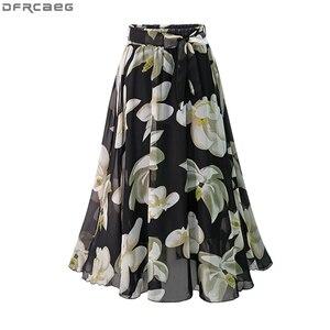 Image 2 - Saia de chiffon feminina, borracha de chiffon estampada com laço jupe femme plus size saias florais,