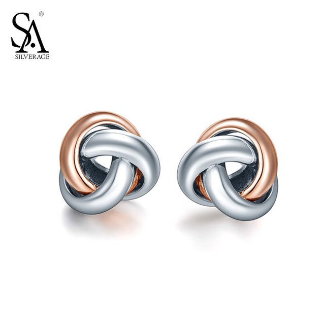 Silverage Real 925 Sterling Silver Stud Earrings Fine Jewelry For Women Love Knot Rose Gold Plated