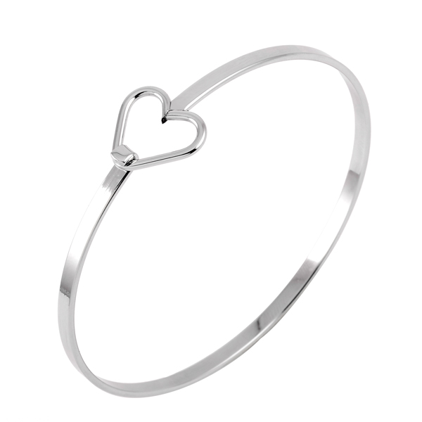 CJB0288 Heart Arrow 316L Stainless Steel Solid Expandable Wire Bangle Charms Bracelets from Directory Factory