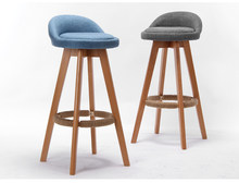Wood Bar Stool With Upholstered Seat and Back Swivel Chair For Commercial Industrial Kitchen Cafe Bar Stool Furniture Chair 73cm(China)