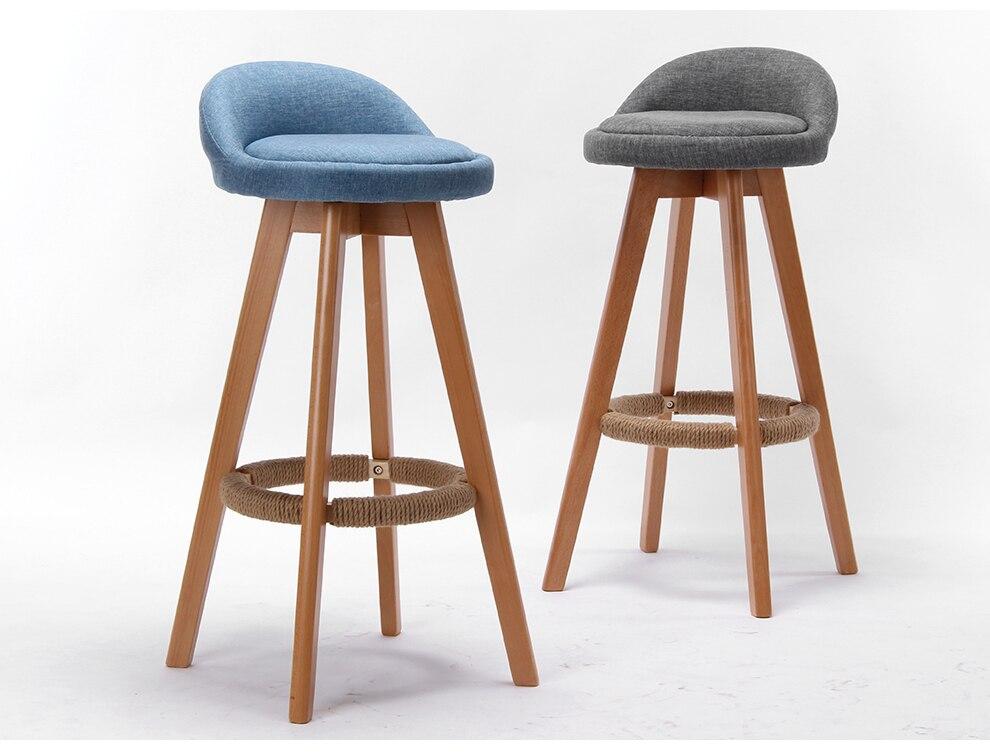 €71.3 |Taburete de Bar de madera con asiento tapizado y silla giratoria  trasera para cocina Industrial comercial café mueble taburete de Bar silla  ...