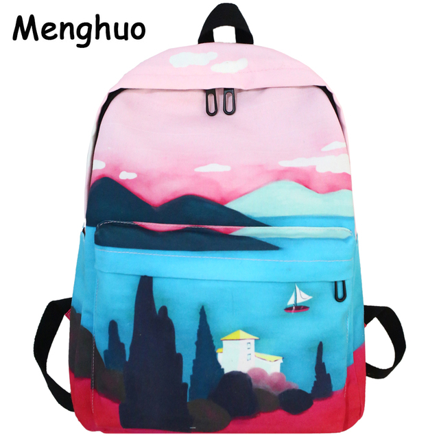 c59a81fab5 Menghuo Fresh Canvas Backpack Women Landscape School Bags for Teenagers  Girls New Backpack Travel Bag Rucksack