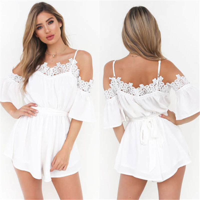 13a3de76368 2017 Sexy Rompers Womens Summer Jumpsuit High Waist White Straps Lace  Playsuit Shorts Jumpsuits Plus Size-in Rompers from Women s Clothing    Accessories on ...