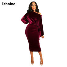 Sexy Off-shoulder Midi Dress Puff Sleeve Woman Elegant Bodycon Party Dress Long Pencil Dresses Femme Robe Club Outfit Vestidos цены