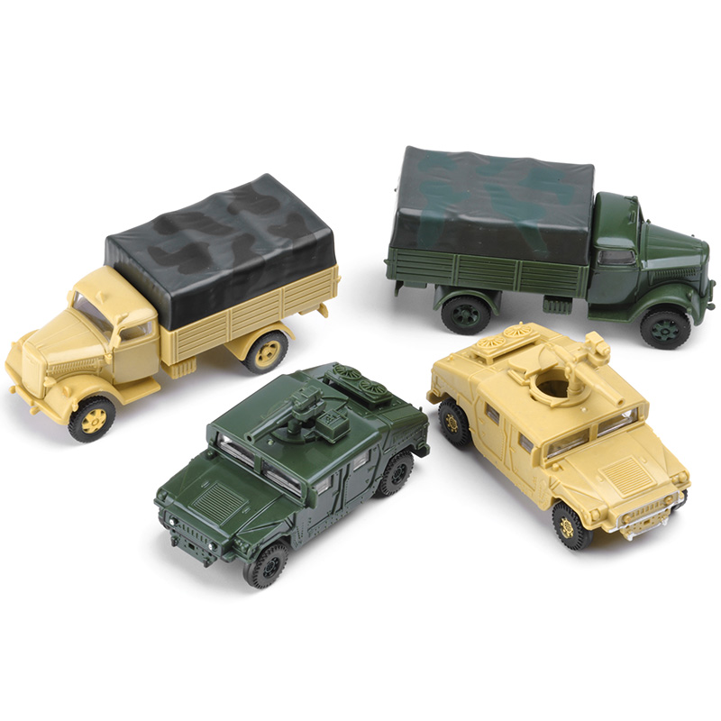 4pcs 1:72 4D Assemble Truck USA Humvee Germany Truck Plastic Assemble Military Vehicle Model Toy For Sand Table Toy