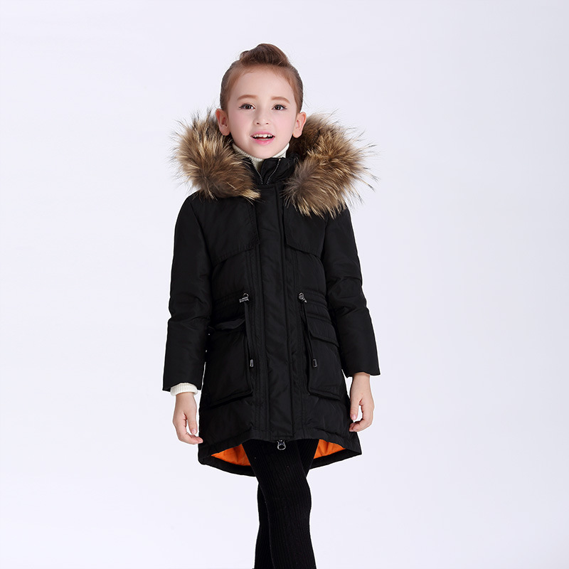 2017 Fashion Girl winter down Jackets Children Coats warm baby 100% thick duck down kids outerwear for cold -30 degree jacket 2018 cold winter warm thick baby child girl hoody long outerwear pink duck down
