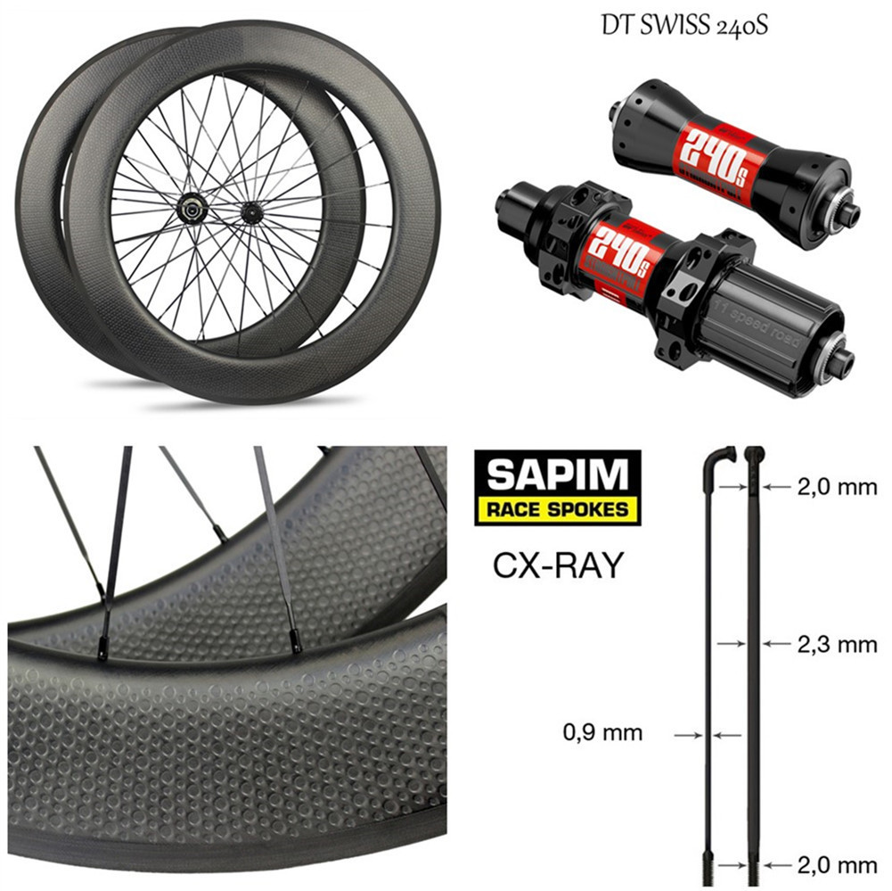 цена на High-End Dimple Carbon Wheel DT240S /DT350S Hub Sapim CX-Ray Spoke 700c Road Bike Wheelset 45mm 50mm 58mm 80mm Clincher Tubular