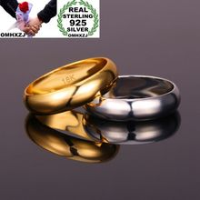 OMHXZJ Wholesale European Fashion Woman Man Party Wedding Gift Simple 925 Sterling Silver 18KT Rose Gold Yellow Ring RR389