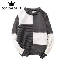 Zoe Saldana 2017 Autumn Winter Sweaters Men Palid Homme Patchwork Brand Pullovers Grey Knitted Sweater Male Casual Knitwear