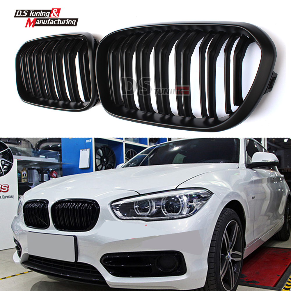 Dual slat black front kidney grill grille for bmw 1 series f20 LCI 2015 2016 5-door hatchback 114i 116i 118i 2pcs front grille bumper hood grill grilles automobile front kidney grille for bmw 1 series f20 2012 2014 glossy black