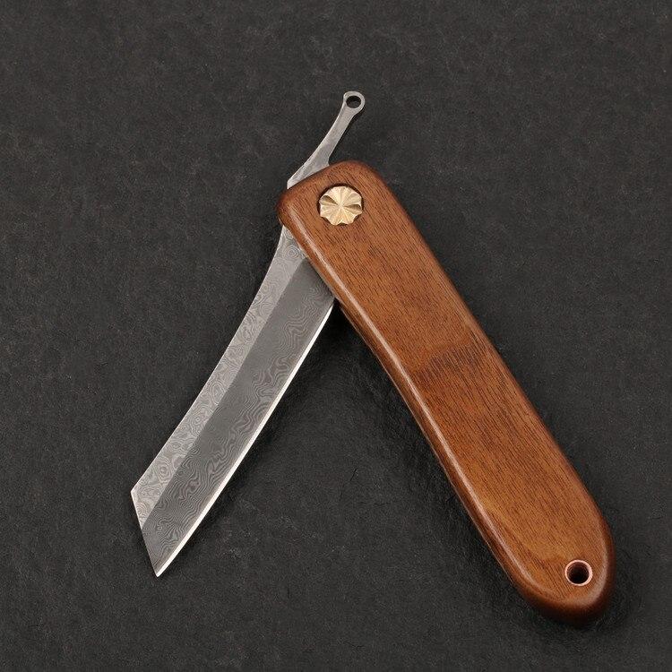 Damascus steel razor folding knife outdoor utility pocket Knives hunting EDC hand tools knife DIY kits