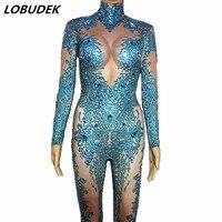 Full Rhinestones Blue Stretch Leotard Jumpsuit Glass Crystals Elastic Bodysuit Sexy Nightclub Party DS Costume Singer Stage Wear